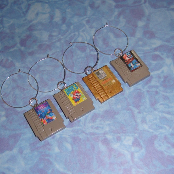WINE CHARM 4 Piece SET Nintendo Game Cartridges