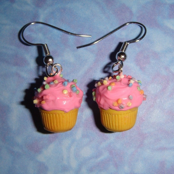 Cupcake Earrings - PICK ANY FLAVOR of cake and icing