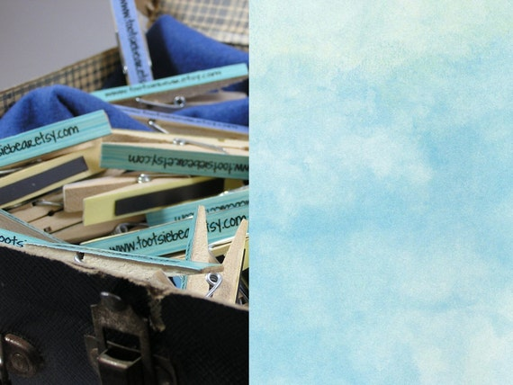 50 Custom Promo Clothespin Magnets - Blue Sky Pattern