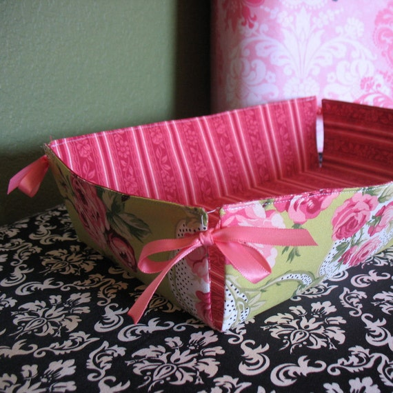 Pink and Green Rose Fabric Tray