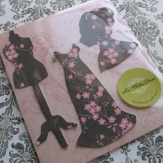 50% OFF - Fabric Stickers - Pink and Gray Floral Fashion