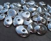 10 SILVER 13mm CORNFLAKES Mykonos Greek Ceramic Metalized Beads