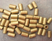 10 Antique Gold Greek Ceramic Beads Small Tube 6x10mm Barrel