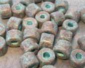 10 Mykonos Greek Ceramic Green Patina 8x7mm Short Tubes