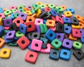 25 Greek Ceramic 8mm Square Spacers Bright Assortment Ceramic Washers