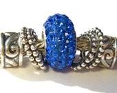 Sterling Silver Crystal Pandora Style Bead - ROYAL BLUE