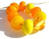 MELLOW YELLOW Glass Spacers (10) - Handmade Lampwork Beads
