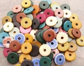 25 Greek Ceramic Beads Earthy Assortment - 13mm Round Beads - Disks