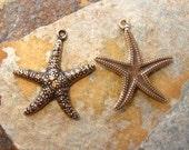 2 Antique Gold Patina  Star Fish - Starfish Charms -  Trinity Brass Co.