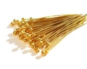10 Bali 24k Vermeil 27gauge 20mm Headpins with Ball
