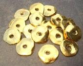 Mykonos Greek 15mm Gold Cornflake Casting Beads - 4 Wave Disk Bead