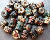 AUTUMN RUST Mykonos Greek Ceramic Beads - 5 Carved Barrels