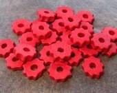 10 Mykonos Greek Ceramic Beads RED Tiny Gears