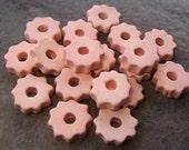 10 Mykonos Greek Ceramic Beads DESERT PINK Tiny Gears