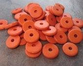 25 Orange Greek Ceramic Beads - 13mm Round Washer Disk Beads