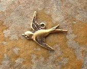 2 Bird Charms Antique Gold Patina West Facing -  Trinity Brass Co