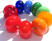 Rainbow Glass Spacers (10) - Handmade Lampwork Beads