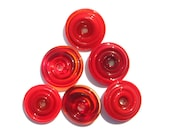 Riot of Red Glass Disks (6) - Handmade Lampwork Beads SRA