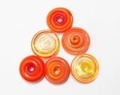 Shades of Orange Glass Disks - 6 Handmade Lampwork Beads SRA