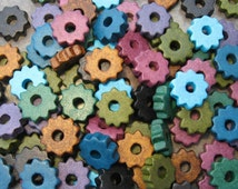 25 Earthy and Sky Large Gears - Greek Ceramic Beads