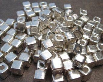 Silver Mykonos Greek Ceramic Beads 5.5mm Square Bead - Pick Your Own Bulk Price