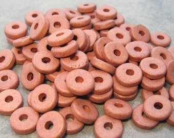 25 Terra Cota Mykonos Greek Ceramic Beads 8mm Large Holed Round Washers