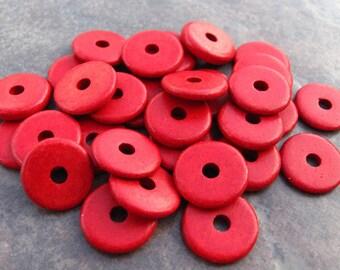 10 Red Greek Ceramic Beads - 13mm Round Washer