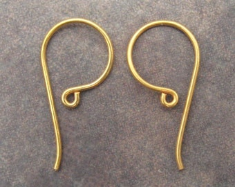 Vermeil Earwires With Hook - Shepherds Hook - 24 x 12mm - Pick Your Own Bulk Price