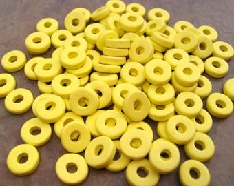 25 Neon Yellow Greek Ceramic 8mm Round Beads
