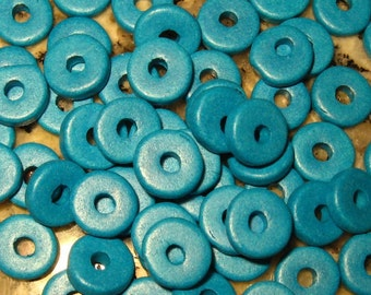 Dark Turquoise 25 Greek Ceramic Beads 8mm Round Washer