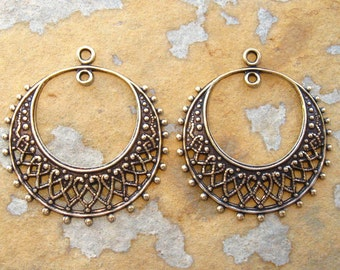 2 Antique Gold Filigree Hoops -  Trinity Brass Co.  LOW SHIPPING