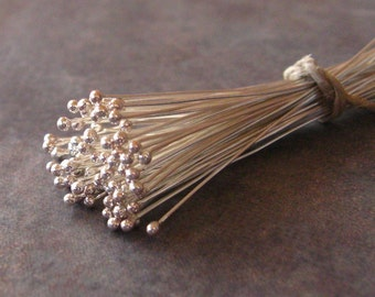 10 Bali Sterling Silver 26 gauge Headpins with Ball - 50mm