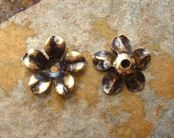 4 Antique Gold 12mm  Flower Stamping -  Bead Cap -  Trinity Brass Co.