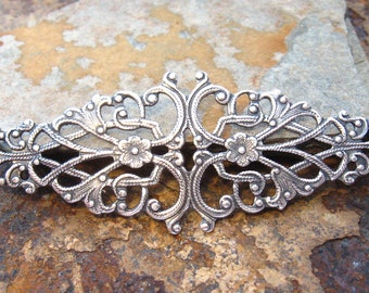 1 Antique Silver Patina Diamond Floral Filigree 64mm x 21mm -  Trinity Brass