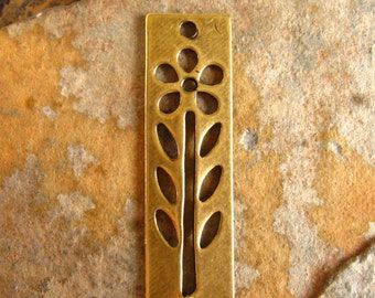 2 Trinity Brass Antique Gold Patina Daisy Tag Charms  -  7mm x 28.5mm LOW SHIPPING