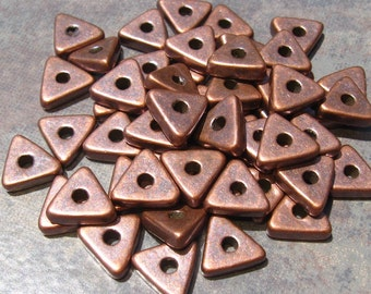 Greek Ceramic Beads Metalized Bronze Triangle Beads - 10mm  (10)