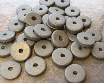 10 Mykonos Greek Ceramic Beads Gunmetal 13mm Round  Disk Beads
