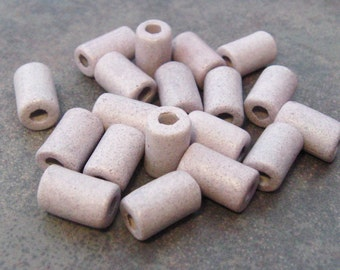 10  Lavender Greek Ceramic Beads Small Tube 6x10mm
