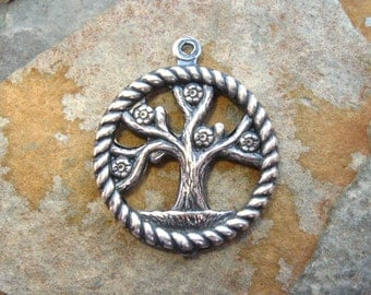 1 Trinity Brass Antique Silver Tree of Life Charm 20mm x 24mm  -  LOW SHIPPING