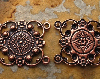 1 Antique Copper Kanah 4 Ring Connector 30mm x 24mm  -  Trinity Brass