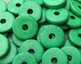 25 Mykonos Greek Ceramic Bright Green13mm Round Disk Beads