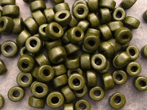 25 Dark Khaki Mini Tube Pony Beads 6x4mm Mykonos Greek Ceramic Large Holed Beads