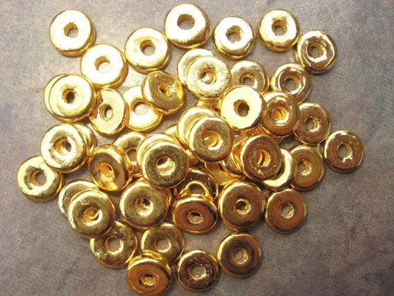 20 Greek Ceramic Beads 24k  Gold 8mm Round Washer Spacers