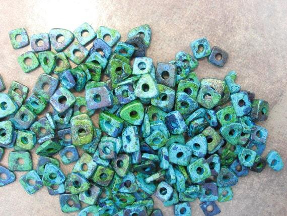 New Sale..Mykonos Greek Ceramic Beads - AEGEAN Little Chip Beads - 60 Plus Beads
