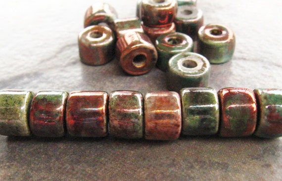 Shop Sale..5 RAKU Greek Ceramic Beads - 8x7mm Short Tubes