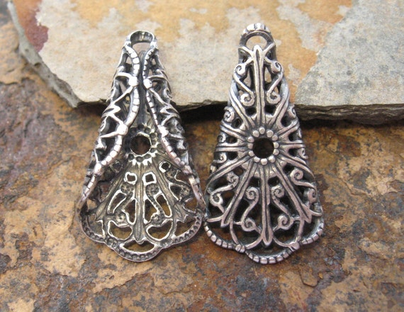 2 Antique Silver Trinity Brass Folded Filigree Tri-Angle LOW SHIPPING