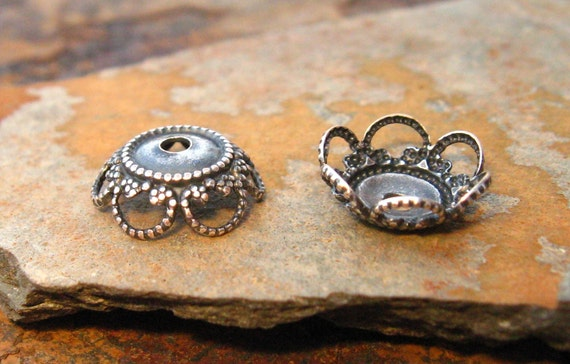 4 Antique Silver 10mm Fancy Bead Caps - Low Shipping