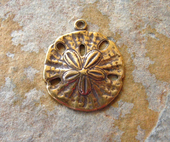 2 Antique Gold Patina Sand Dollars -  Trinity Brass LOW SHIPPING