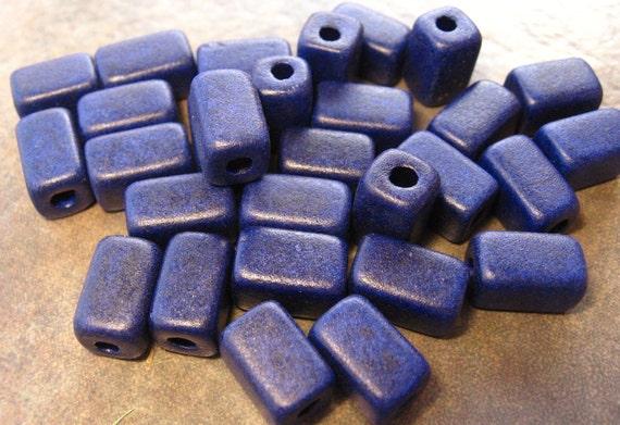 New Sale..COBALT BLUE Greek Ceramic Beads Square Barrel 6x10mm (10)