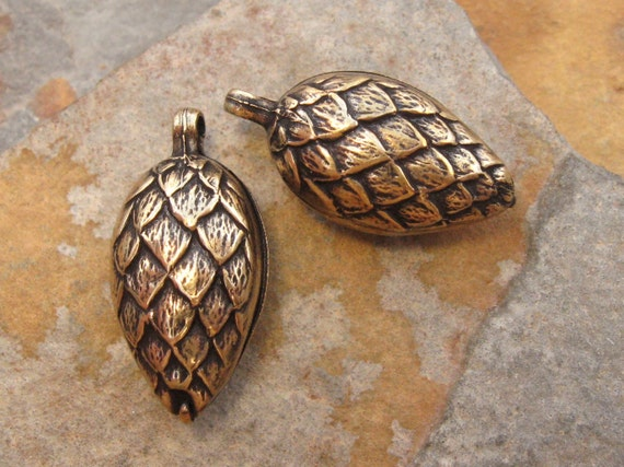 Shop Sale..1 Pine Cone - Pinecone Charm Antique Gold Patina -  Trinity Brass LOW SHIPPING
